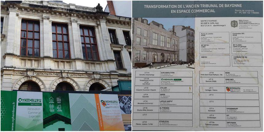 Le bâtiment qui abritait l'ancien tribunal de Bayonne, en centre-ville, est en travaux.