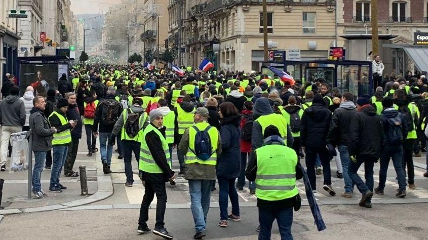 """La manifestation des """"gilets jaunes"""" à Rouen le samedi 5 janvier 2019"""