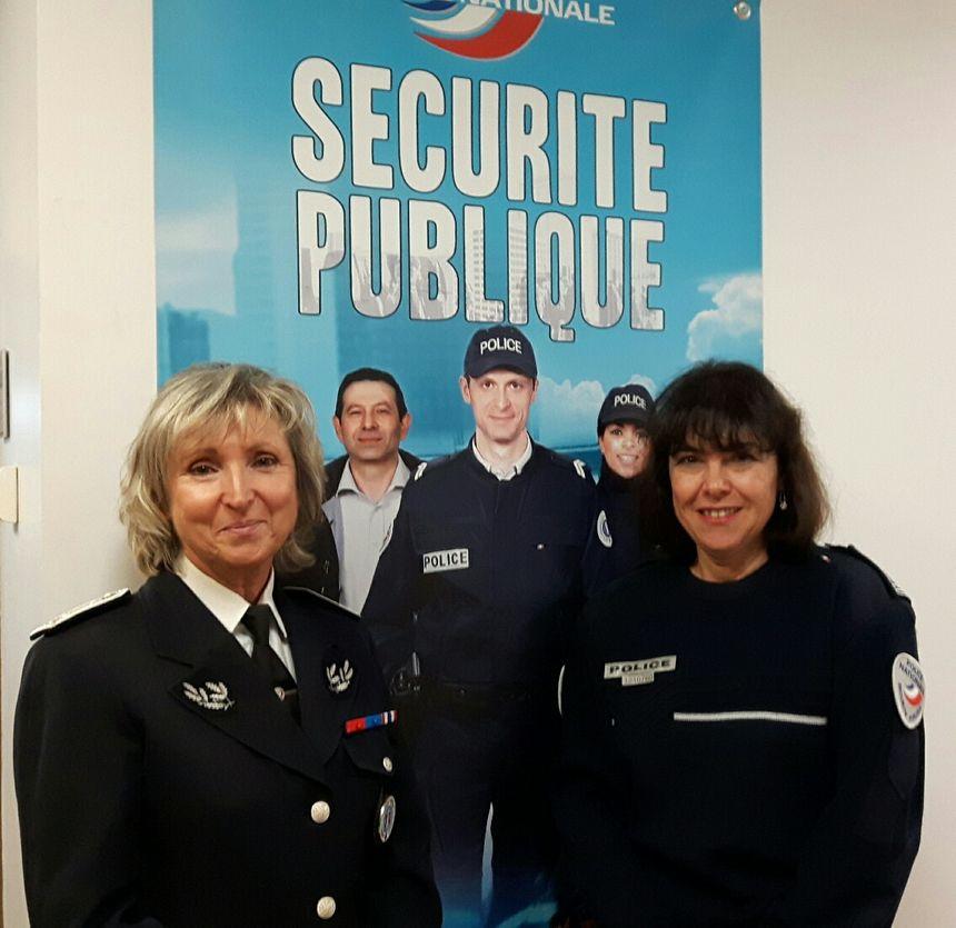 Martine Nautet inspectrice générale horaire de la Police Nationale et Marie-Josèphe Mazel Directrice Départementale de la Sécurité Publique en Vaucluse