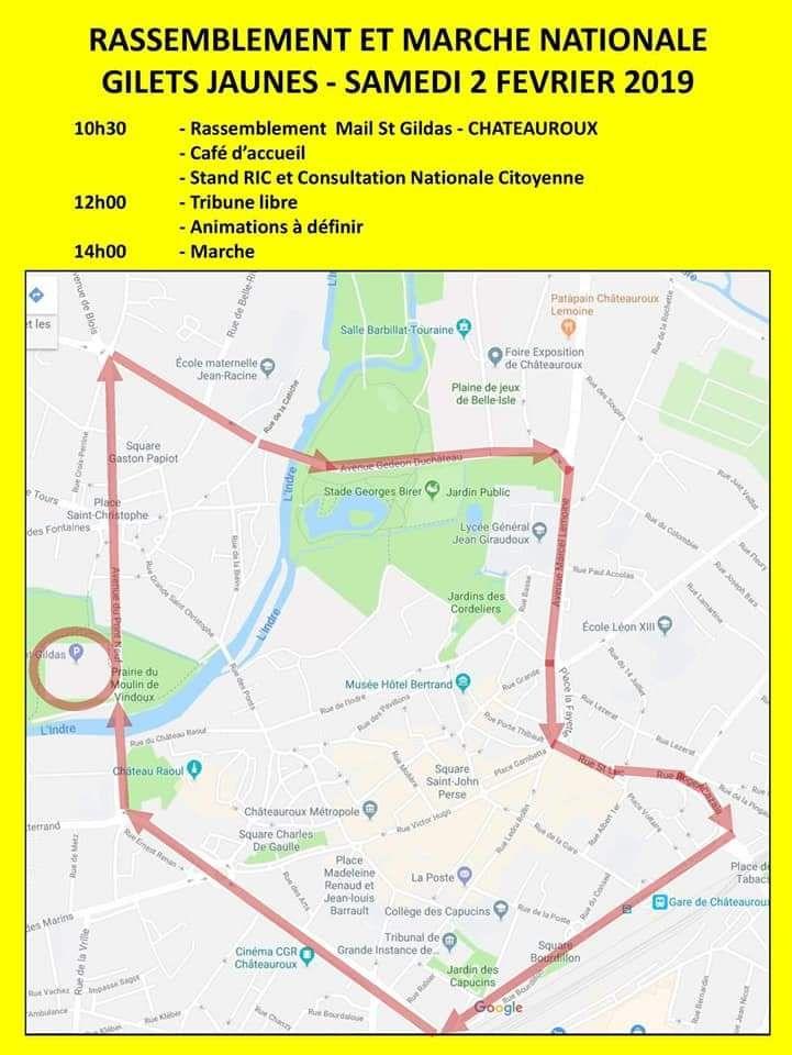 Le parcours de la manifestation des gilets jaunes du samedi 2 février à Châteauroux déposé en préfecture de l'Indre