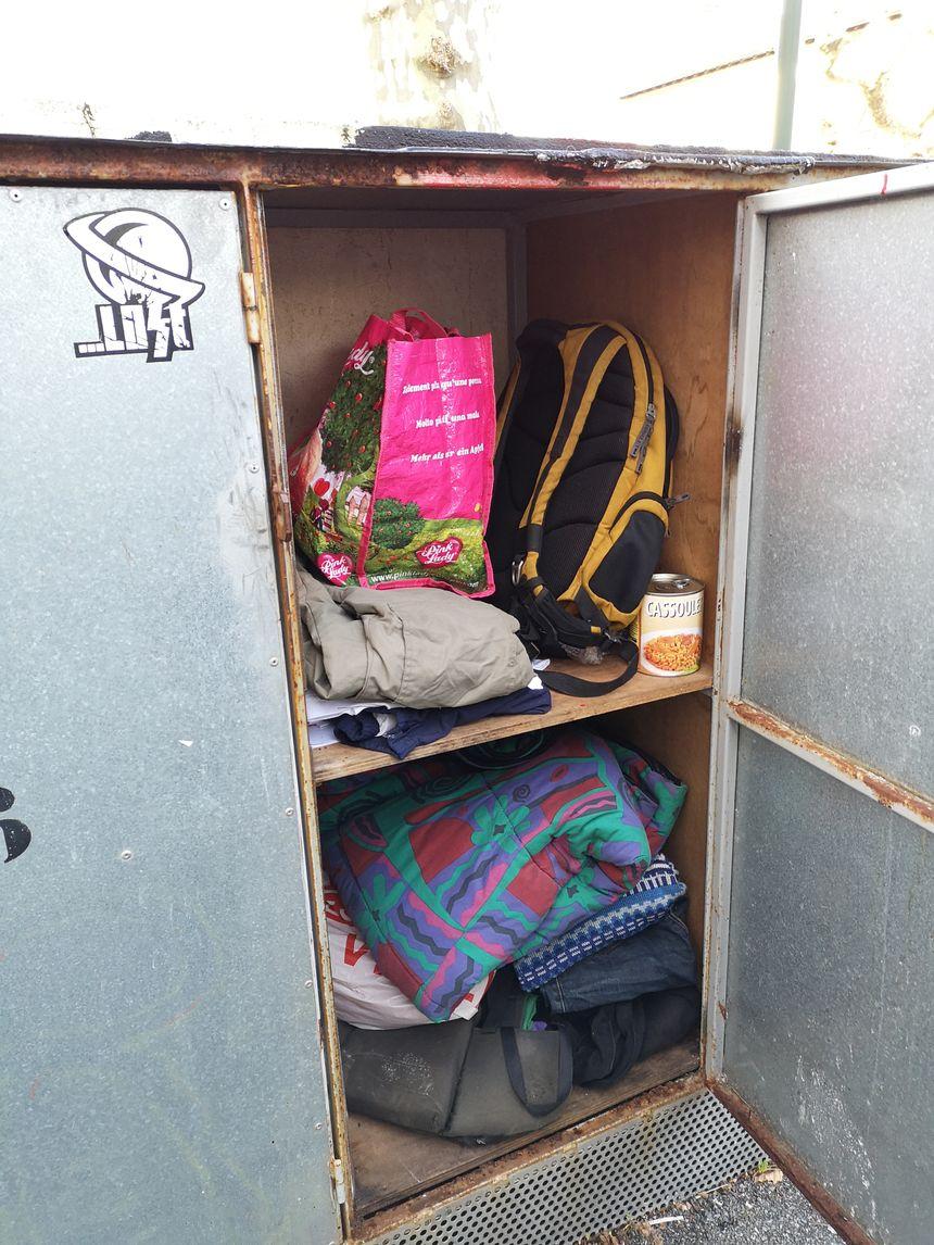 Le casier d'un des sans abris