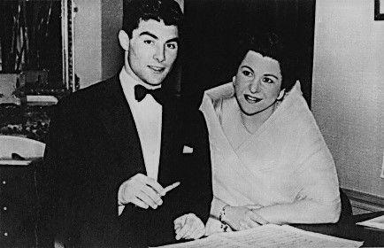 Mado Robin et Roberto Benzi à  la Villa Strauss à Vichy (Allier) le 28 juin 1957