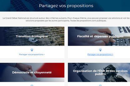 Page d'accueil des contributions sur le site du grand débat national