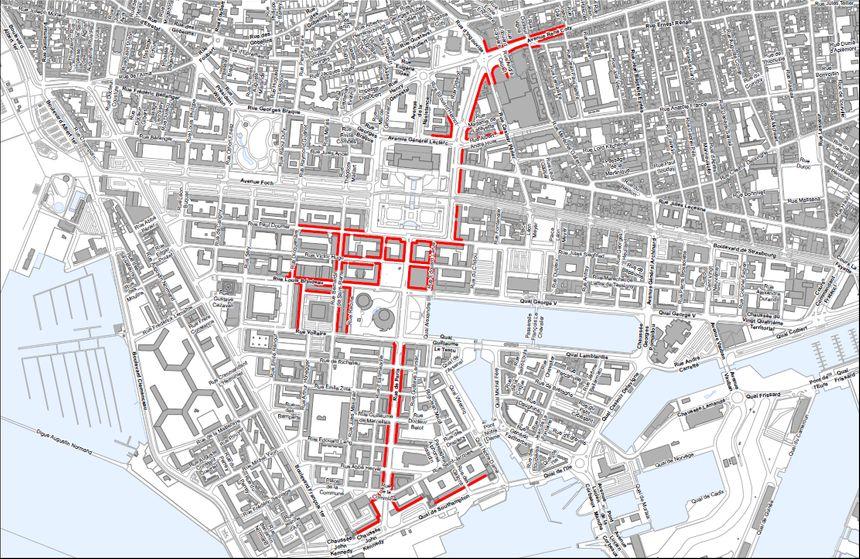 Les rues concernées par le droit de préemption sont en rouge