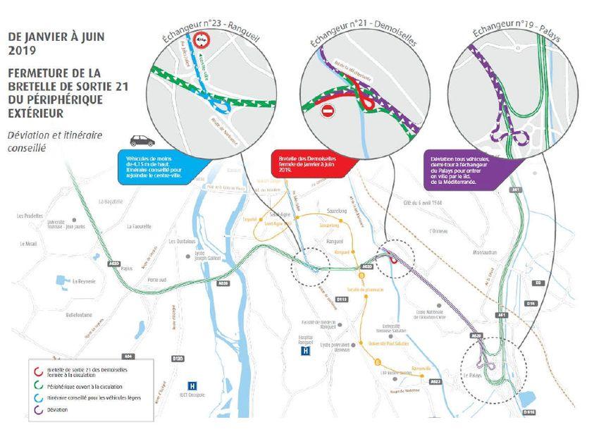 Itinéraire de déviation proposé par la préfecture en raison de la fermeture de la bretelle n°21.