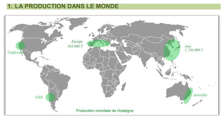 """La production de châtaignes dans le monde (extrait """"livre blanc de la châtaigne 2017"""")"""