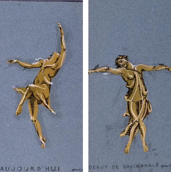Jules Grandjouan, Isadora Duncan. Aujourd'hui (détail), 1937; Jules Grandjouan, Isadora Duncan. Début de la Bacchanale (détail), 1937