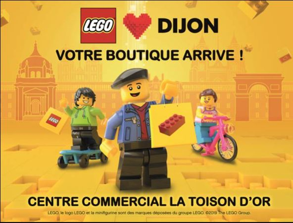 L'affiche annonçant l'arrivée de LEGO à Dijon