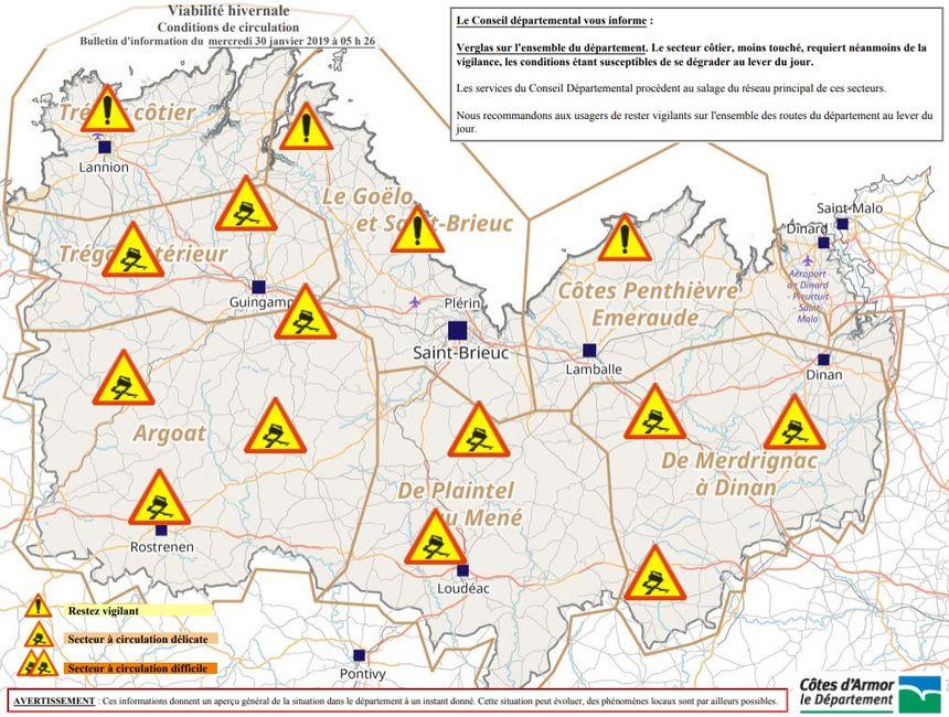 Le département des Côtes d'Armor met en garde les automobilistes, le verglas est attendu sur l'ensemble du département