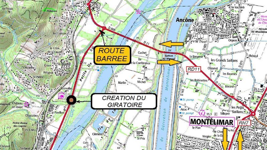 Voici les itinéraires de déviation de la RD86 au Teil, du 28/01 au 01/02