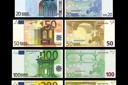 Photos récentes des billets d'une valeur de 5, 10, 20, 50, 100, 200 et 500 euros