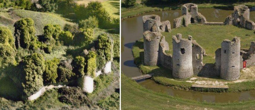 Le château en 1970 avant que des bénévole ne le libèrent de la végétation.