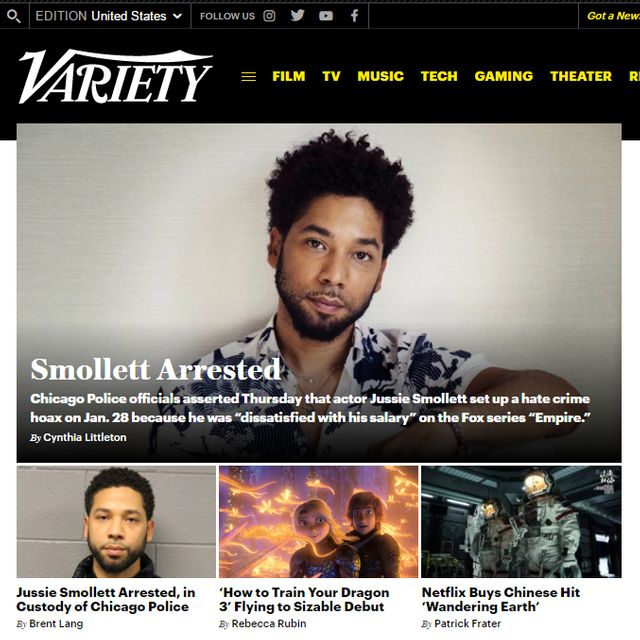 L'arrestation de Jussie Smollett à la une de Variety