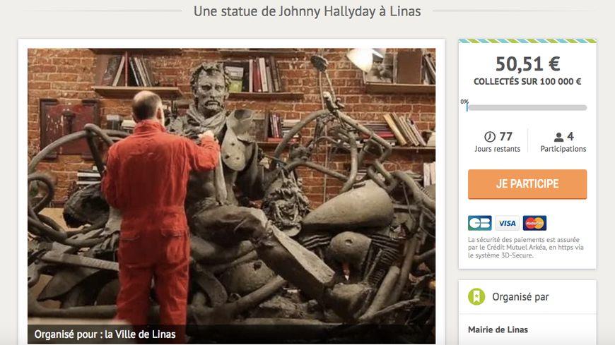 La cagnotte en ligne de la ville de Linas pour la statue de Johnny