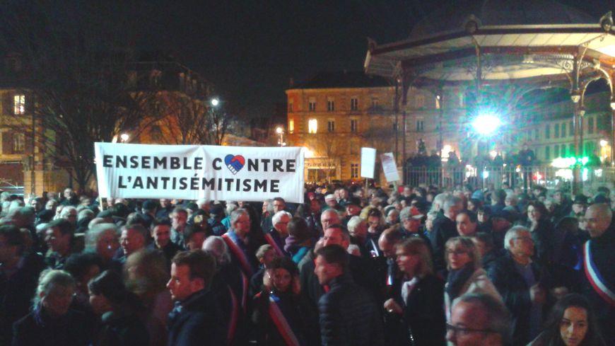 Un millier de personnes à Belfort contre l'antisémitisme, mardi 19 février 2019.