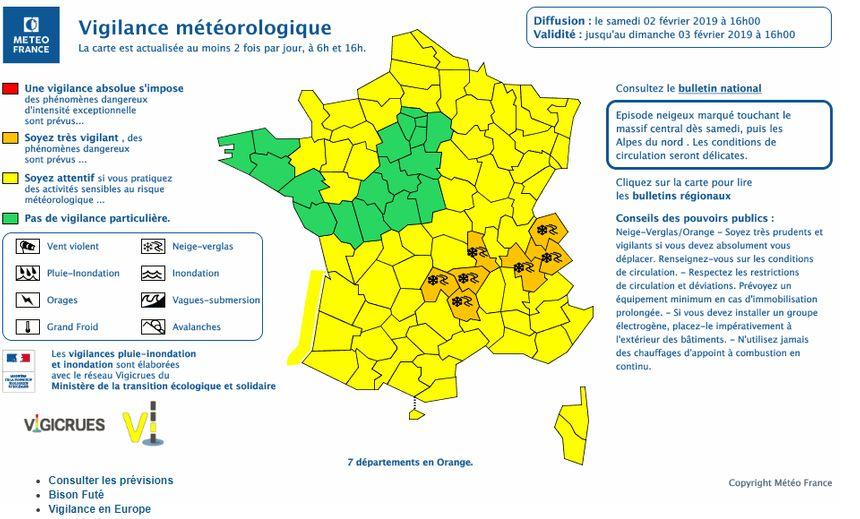 La carte de vigilance cet après-midi diffusée par Météo France