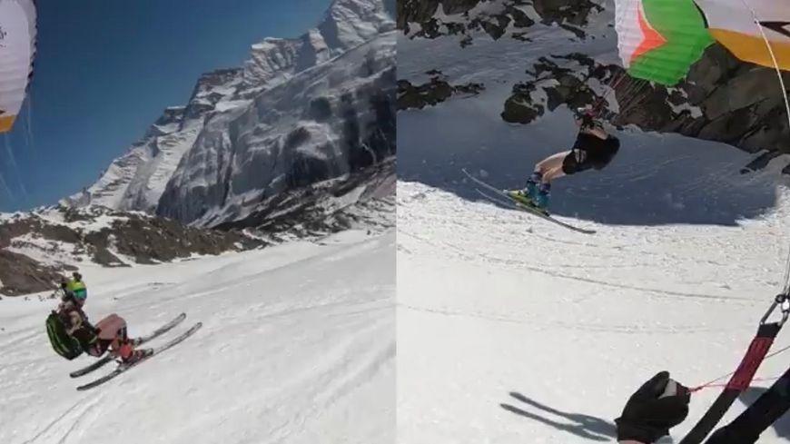 Dans le massif du Mont-Blanc, deux speed riders décollent en slip et se filment pour alerter sur le réchauffement climatique. (photo capture d'écran vidéo d'Ambroise Serrano)