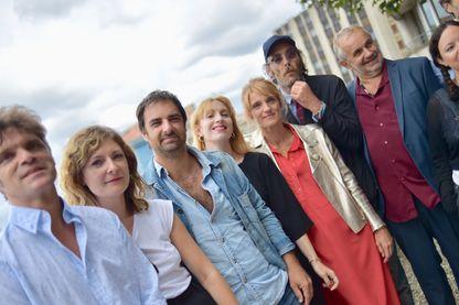 """L'équipe du film """"Maman, ma mère et moi""""  de Christophe Le Masne avec Grégory Montel, Lolita Chammah, et Olivia Côte, au Festival d'Angoulême le  27 août 2018."""