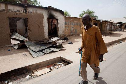 Une rue de la ville de Gwoza dans l'état du Borno au Nigeria en 2015 après le départ de Boko Haram