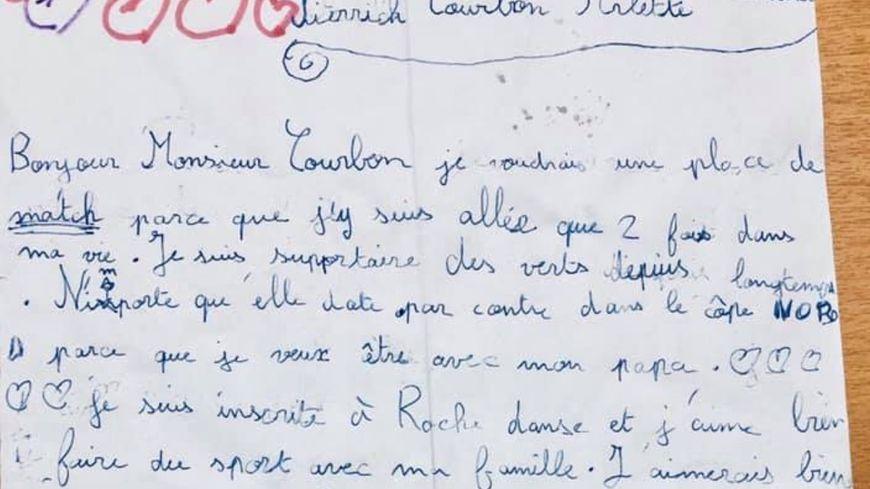 La lettre reçue par Arlette Bernard et Pierrick Courbon