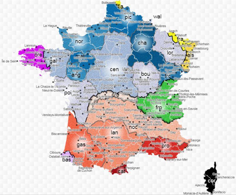 """Le croissant marchois est une"""" zone tampon"""" entre langue d'occ et d'oil. Capture d'écran et copyright : https://atlas.limsi.fr/"""