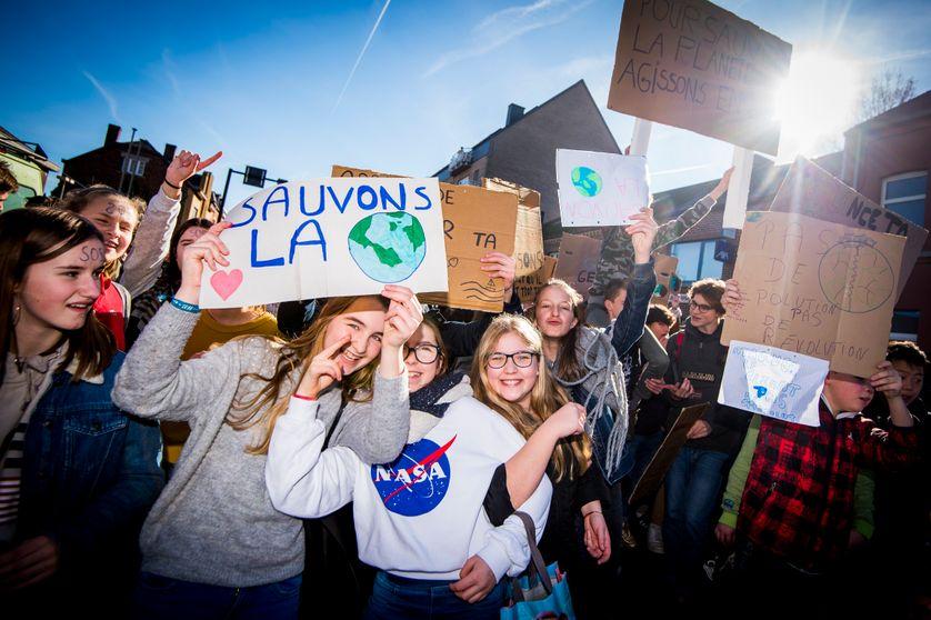 La marche «Jeunesse pour le climat» le 14 février 2019 à Jodoigne (Belgique)