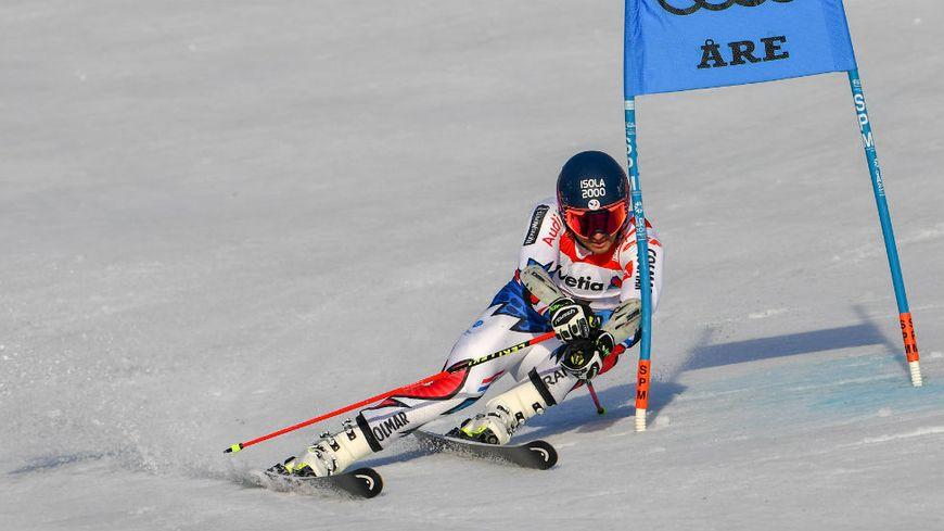 Le skieur d'Isola 2000, Mathieu Faivre, lors de la première manche du géant aux Mondiaux de ski