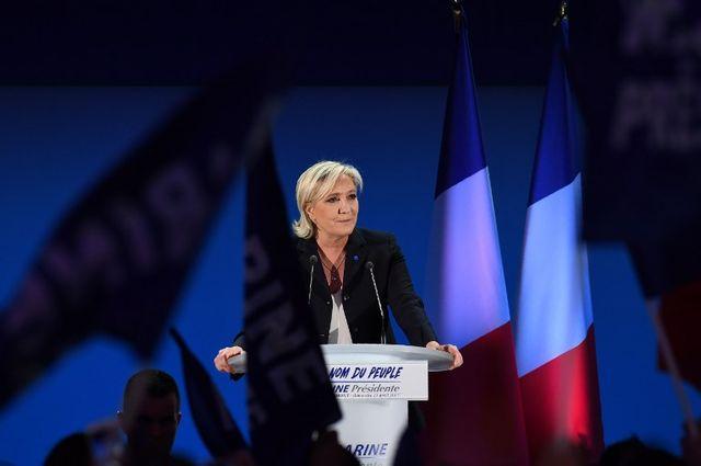 Marine Le Pen lors de sa campagne pour la Présidentielle française, ici en avril 2017 à Hénin-Beaumont