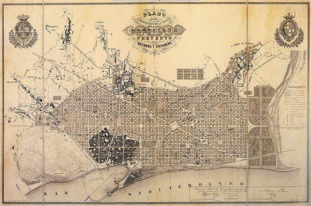 Projet original du plan Cerdà : Carte des environs de la ville de Barcelone et projet d'amélioration et d'agrandissement, 1859