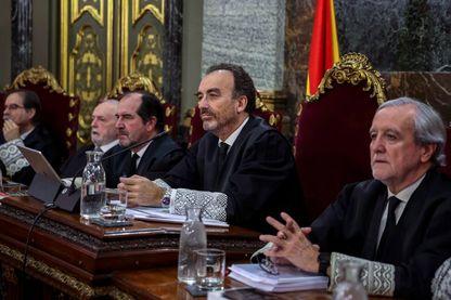 Le juge Manuel Marchena préside le procès des anciens dirigeants séparatistes catalans devant la Cour suprême de Madrid le 12 février 2019.