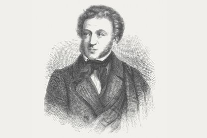 Gravure représentant Alexander Pouchkine (1799 - 1837), publiée en 1882