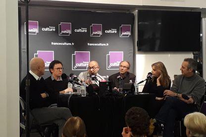 Eric Valmir, Hervé Gardette, Stéphane Robert, Dominique Jung, Sandrine Treiner, Fréderic Barreyre. Radio France Parlons Info à Strasbourg