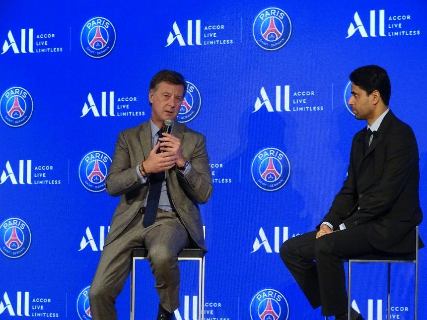 Sébastien Bazin (PDG Accor) et Nasser Al-Khelaïfi (Président PSG) à l'occasion de la conférence de presse