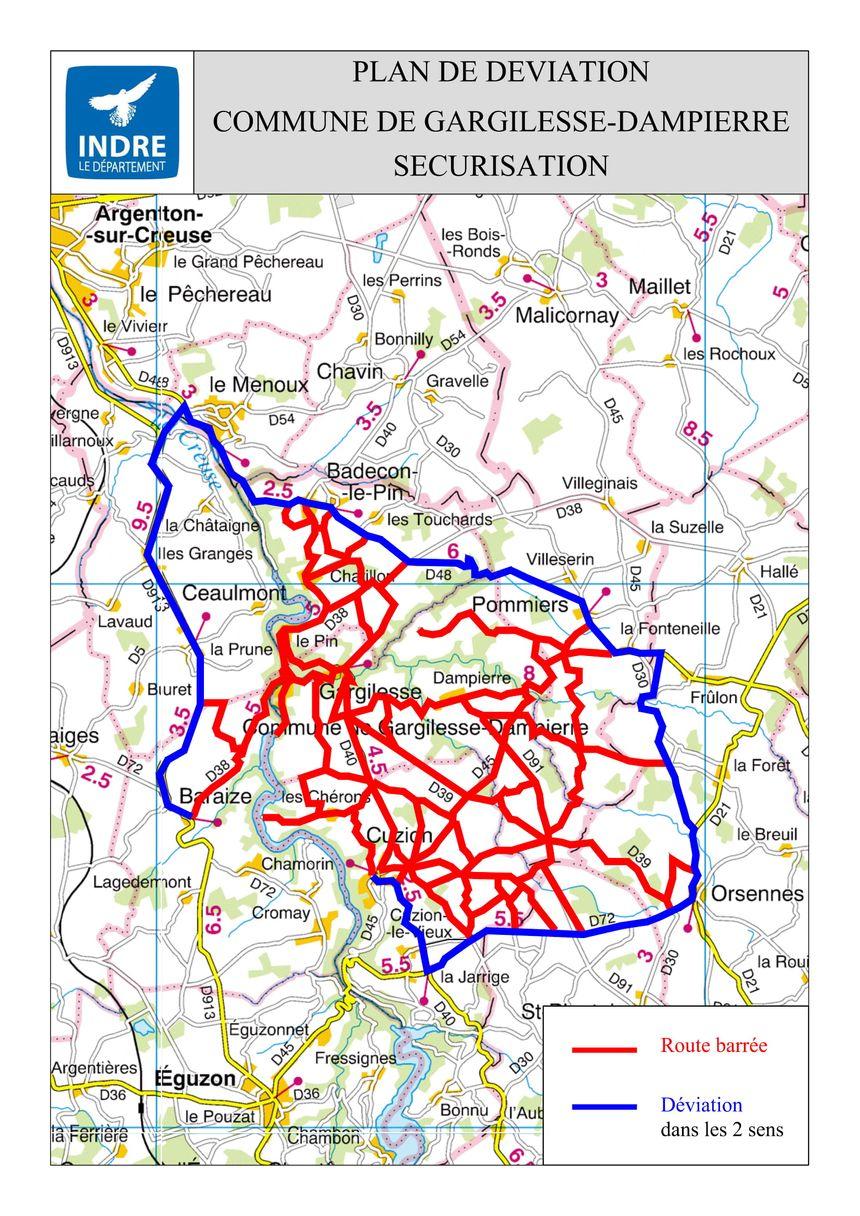 La carte des routes barrées à l'occasion de la venue du Président de la République ce jeudi 14 février 2019 à Gargilesse-Dampierre