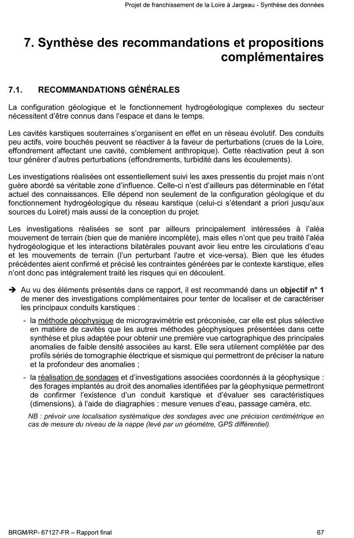 Synthèse des recommandations et propositions complémentaires - 1
