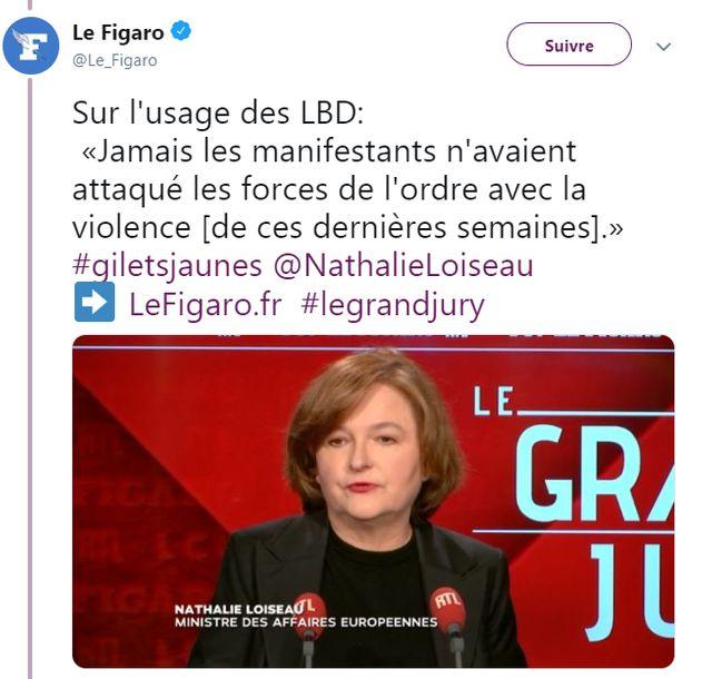 """Nathalie Loiseau, minstre chargée des Affaires européennes, le 3 février 2019 : """"Jamais les manifestants n'avaient attaqué les forces de l'ordre avec la violence de [ces dernières semaines]"""""""