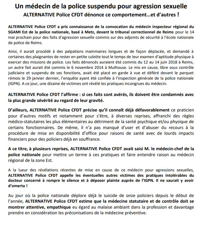 Communiqué de Alternative Police CFDT - Radio France