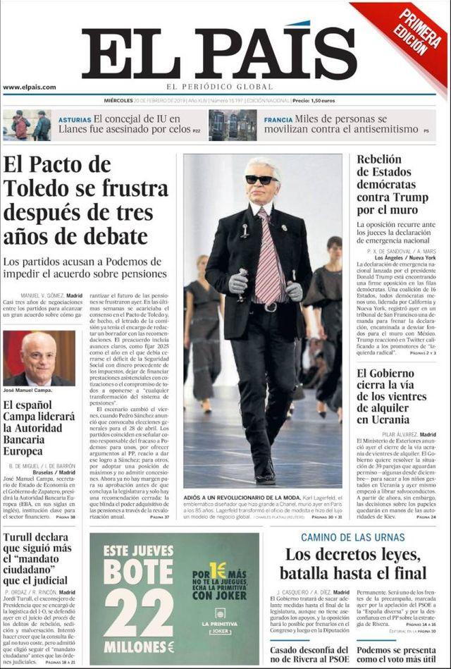 Une de El País du 20 février 2020