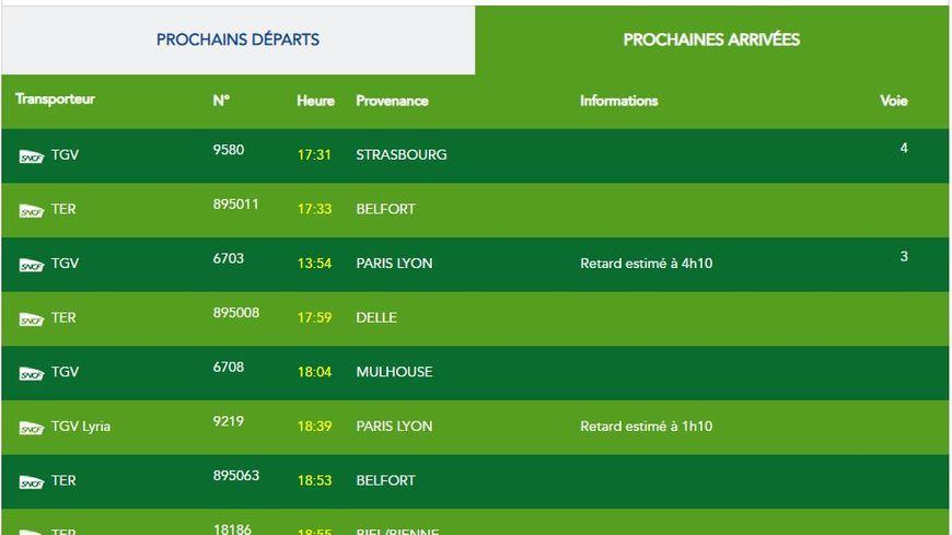 De gros retard à l'arrivée en gare de Belfort-Montbéliard TGV ce lundi (crédit : Gare en mouvement / SNCF)