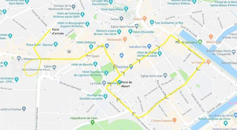 """Le tracé de la manifestation des """"gilets jaunes"""" du 23 février à Caen"""