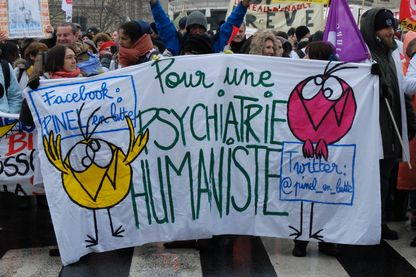 """Manifestation du 22 janvier 2019, pour un """"Printemps de la Psychiatrie""""."""