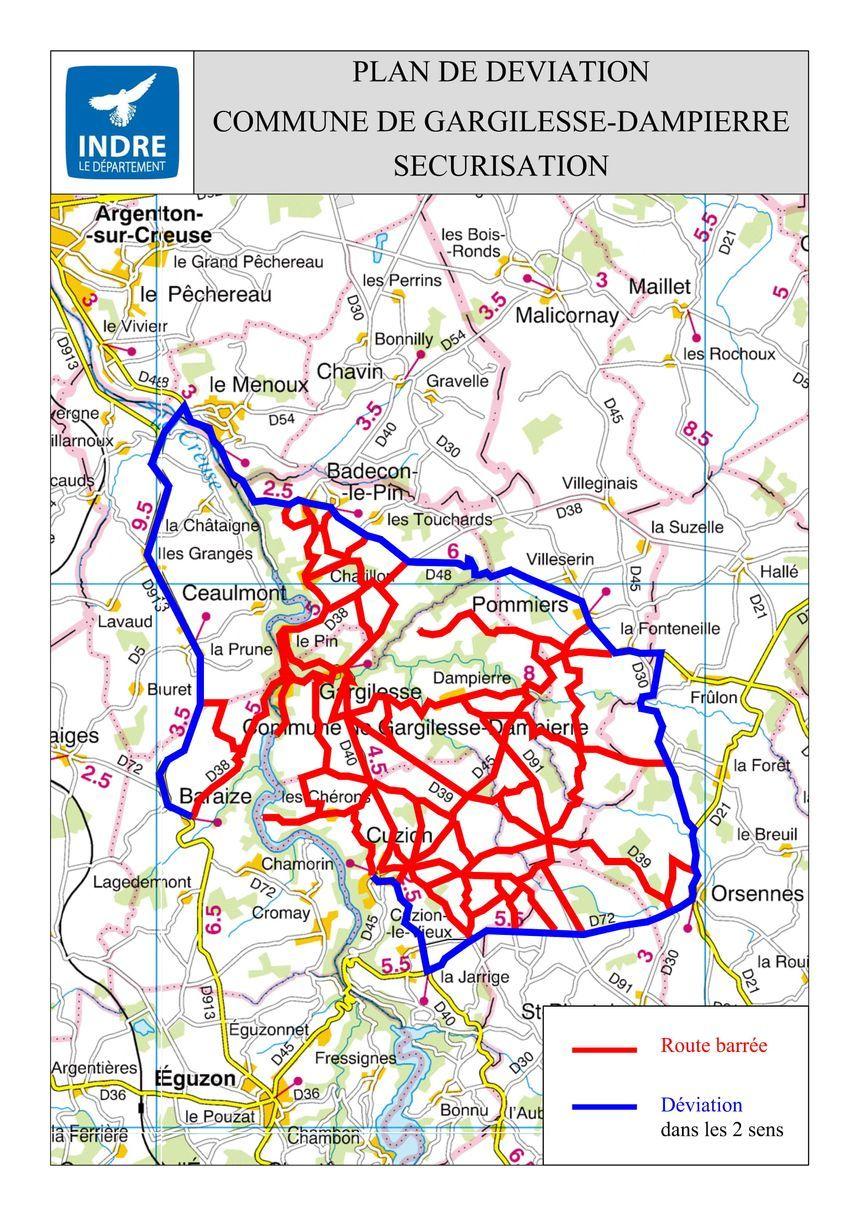 La carte des routes barrées à l'occasion de la visite du c chef de l'état dans l'Indre