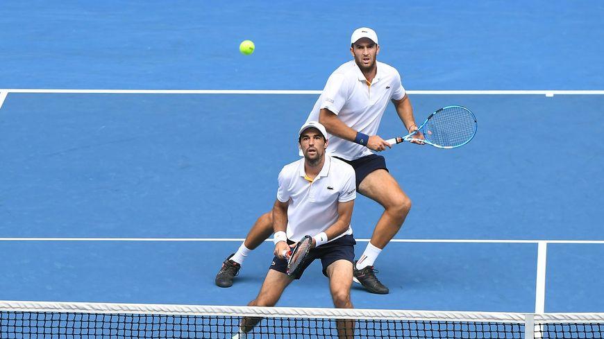 Jérémy Chardy (en bas) et Fabrice Martin, ici associés à l'Open d'Australie, en 2018.