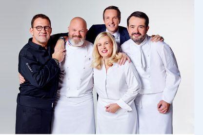 Stéphane Rotenberg et le jury de chefs : Michel Sarran, Philippe Etchebest, Hélène Darroze, Jean-François Piège