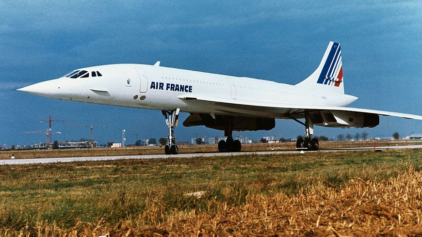 L'avion supersonique Concorde en France en 1975.