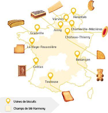 Les usines des biscuits Lu en France
