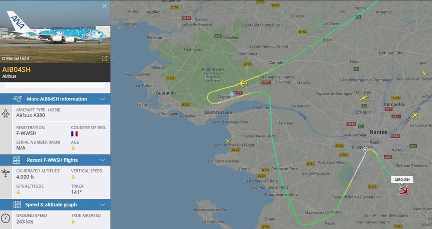 Le trajet de l'A380 au-dessus de la Loire-Atlantique.