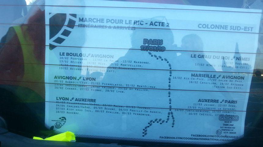 L'itinéraire des marcheurs Gilets Jaunes vers Paris