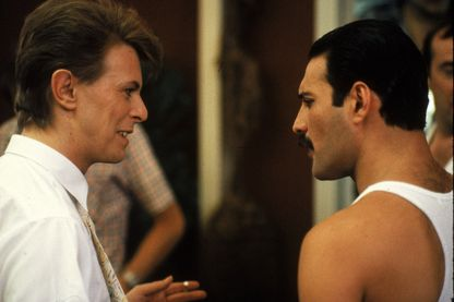 "Freddie Mercury et David Bowie durant""A kind of Magic Tour"" en 1986"