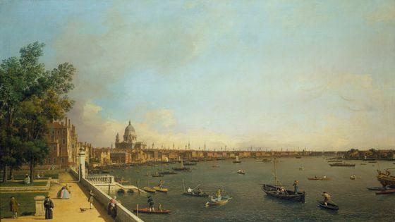 """""""Londres, vue de sur la Tamise"""" ca 1751 par Canaletto (1697-1768) / Charles Avison, 12 Concerti grosso d'après Scarlatti"""